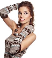 Glamorous woman - fashion girl in winter sweater