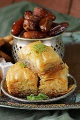 Assorted eastern sweets - baklava, dates, turkish delight