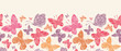 Vector floral butterflies horizontal seamless pattern background