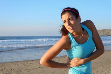 Athlete suffering side kidney pain