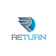 Return Letter R Logo Blue
