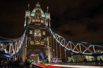Tower Bridge at NIght with Light Trails left by Passing Cars
