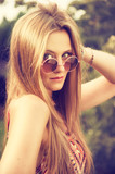 hippie girl with sun glasses
