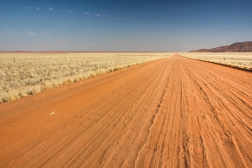 Straight lonely sand pad, Namibia