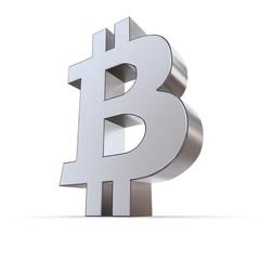 Metallic Bitcoin Symbol - Silver