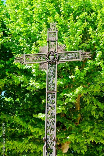 Cross in the countryside in France.