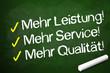 Kreidetafel mit Qualität, Service, Leistung