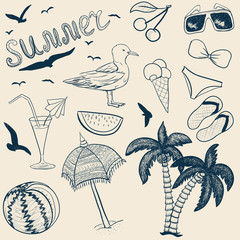 Sketch vector summer objects