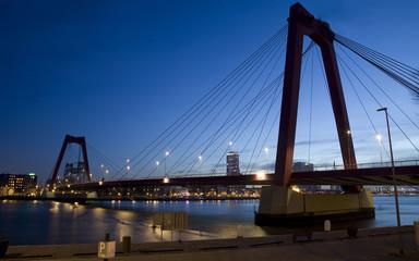 Willemsbrug Bridge in Rotterdam on the Nieuve-Maas River