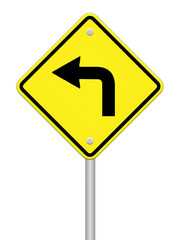 Turn left traffic sign on white background