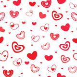 Seamless pattern with different red hearts