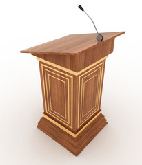 Podium and microphone. 3d illustration isolated on white