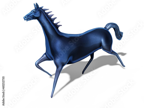 blue metallic horse statuette isolated on white