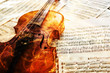 Old violin lying on the sheet of music