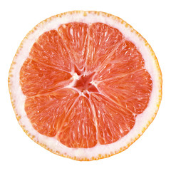 Slice of grapefruit isolated on white with clipping path