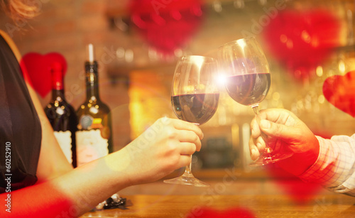 Valentine's Day concept with wine and glasses