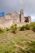 Chateaux de la cite sight from out walls vertical view at Carcas