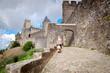 La Porte De Aude with tourist at Carcassonne