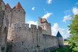 Outside walls of Porte Narbonnaise at Carcassonne