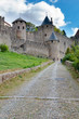 Old stony street leading to La Cite medievale Carcassonne