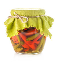 Pickled hot pepper isolated on white background