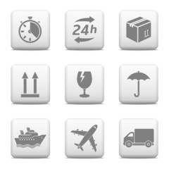 Logistic web buttons. Delivery icons