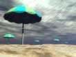 Rain on the beach - 3D render