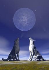 Howling wolves - 3D render