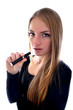 happy woman smoking e-cigarette
