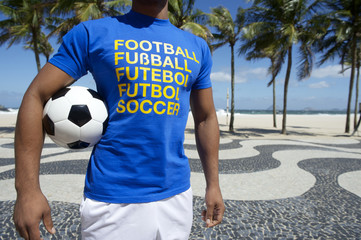 Brazilian Football Player Holding Soccer Ball Copacabana Rio
