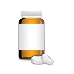 An empty glass bottle with pills , illustration