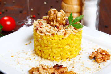 risotto with walnuts, saffron, speck