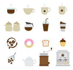 Coffee and tea Icons isolated on white background