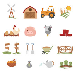 Farm Icons isolated on white background