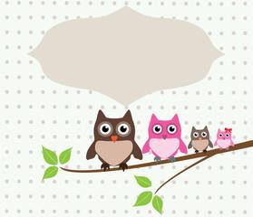 vector card with owl family