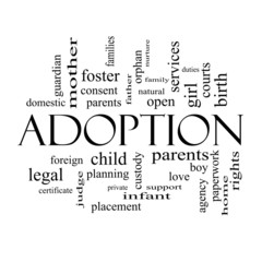 Adoption Word Cloud Concept in black and white