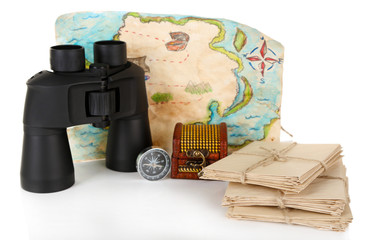 Black modern binoculars with old letters and map of adventure