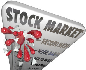 Stock Market Thermometer Rising Values Making Money