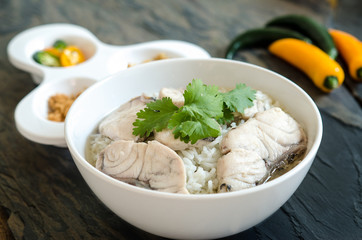 Rice Soup With sea fish (Thai food) on stone