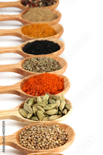 Fotobehang Kruiden Assortment of spices in wooden spoons, isolated on white