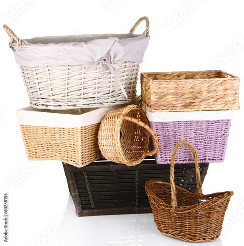 Many different baskets isolated on white
