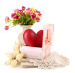 Still life with heart in wooden casket, isolated on white