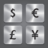 Metal icons design - Dollar, Yen, Euro, Pound.