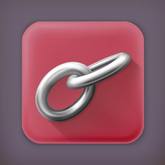 Chain link, long shadow vector icon