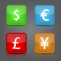 Dollar, Yen, Euro, Pound icons design.