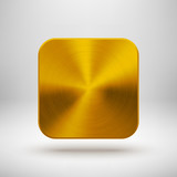 Abstract App Icon Template with Gold Metal Texture