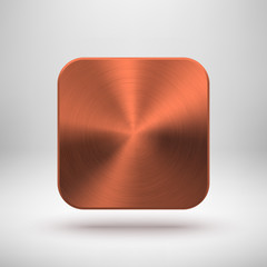 Abstract App Icon Template with Bronze Metal Texture