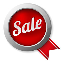 Big red sale button with ribbon