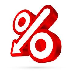 Percent Sign Arrow Down