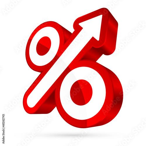 Percent Sign Arrow Up